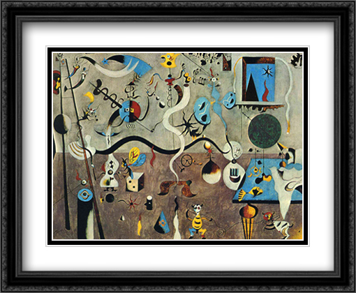 Carnival of Harlequin 2x Matted 34x28 Extra Large Black Ornate Framed Art Print by Miro, Joan