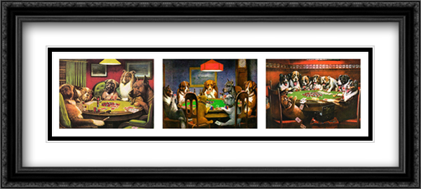Poker Dogs 2x Matted 40x16 Extra Large Black Ornate Framed Art Print by Cassius Marcellus Coolidge