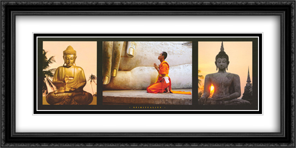 Spirituality 2x Matted 40x20 Extra Large Black Ornate Framed Art Print