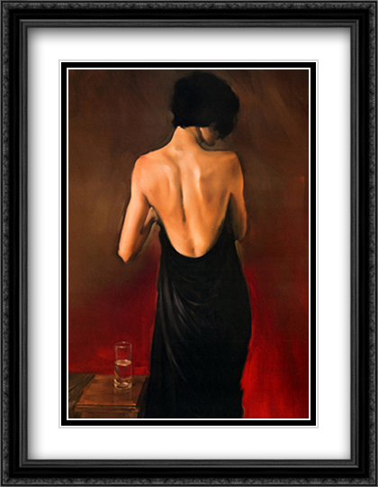 The Black Drape 2x Matted 28x36 Extra Large Black Ornate Framed Art Print by Michael Austin