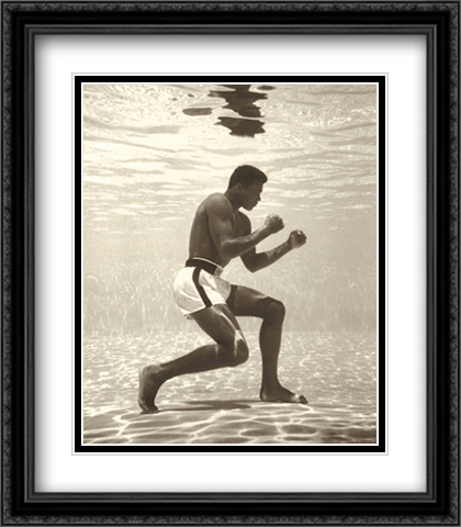 Muhammad Ali for Life Magazine (underwater) 2x Matted 28x36 Extra Large Black Ornate Framed Art Print by Flip Schulke