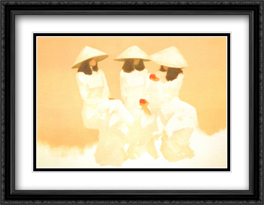Conversation 2x Matted 28x36 Extra Large Black Ornate Framed Art Print by Nguyen Thanh Binh