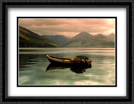 Lake Duich, Highlands, Scotland 2x Matted 36x28 Extra Large Black Ornate Framed Art Print by Blair, David