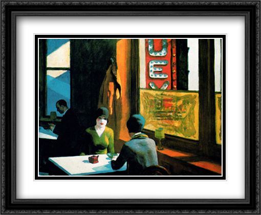 Chop Suey 2x Matted 34x28 Extra Large Black Ornate Framed Art Print by Hopper, Edward