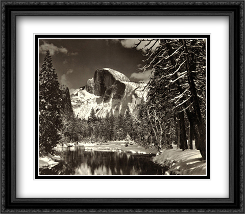 Half Dome, Merced River, Winter 2x Matted 34x28 Extra Large Black Ornate Framed Art Print by Ansel Adams