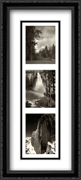 Yosemite National Park 2x Matted 14x40 Extra Large Black Ornate Framed Art Print by Ansel Adams