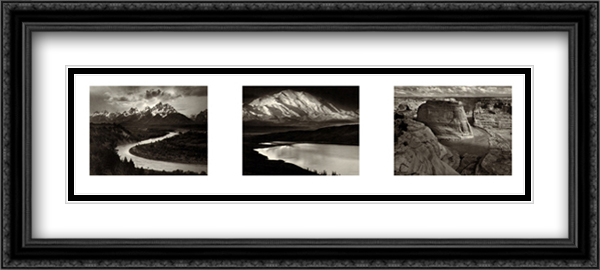 Our National Parks 2x Matted 40x16 Extra Large Black Ornate Framed Art Print by Ansel Adams