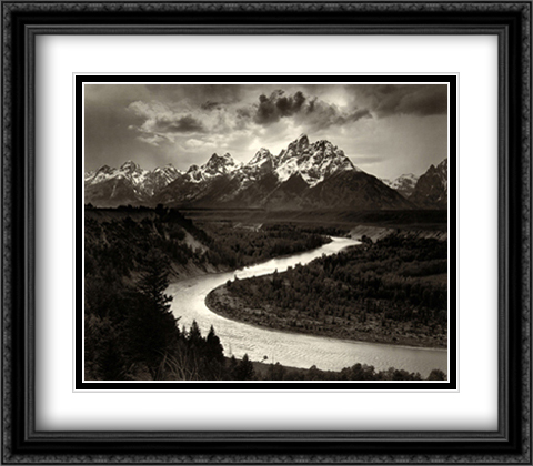 Snake River 2x Matted 34x28 Extra Large Black Ornate Framed Art Print by Ansel Adams