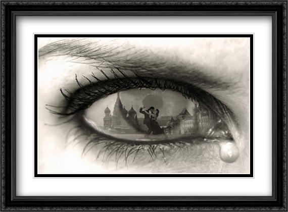 Tearful Encounter 2x Matted 40x28 Extra Large Black Ornate Framed Art Print by Thomas Barbey