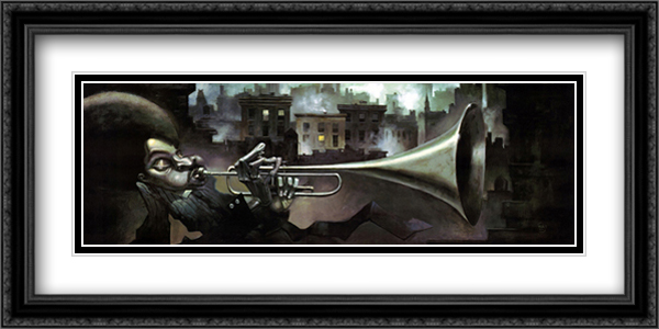 Trumpet Man 2x Matted 40x19 Extra Large Black Ornate Framed Art Print by Justin Bua