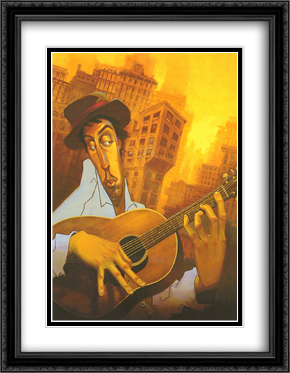 El Guitarrista 2x Matted 28x40 Extra Large Black Ornate Framed Art Print by Justin Bua