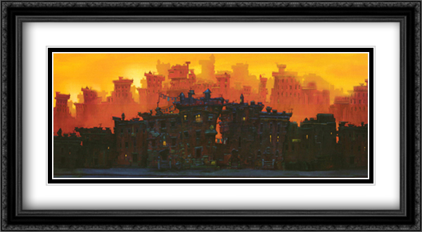 The Block 2x Matted 36x19 Extra Large Black Ornate Framed Art Print by Justin Bua