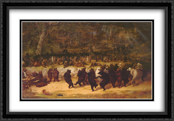 Bear Dance 2x Matted 40x28 Extra Large Black Ornate Framed Art Print by William Beard