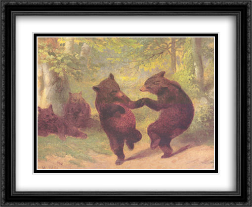 Dancing Bears 2x Matted 34x28 Extra Large Black Ornate Framed Art Print by William Beard