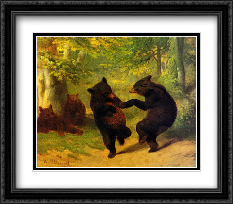 Dancing Bears 2x Matted 32x28 Extra Large Black Ornate Framed Art Print by Beard, William