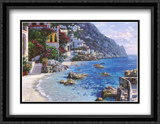 Capri del Mar 2x Matted 36x28 Extra Large Black Ornate Framed Art Print by Howard Behrens