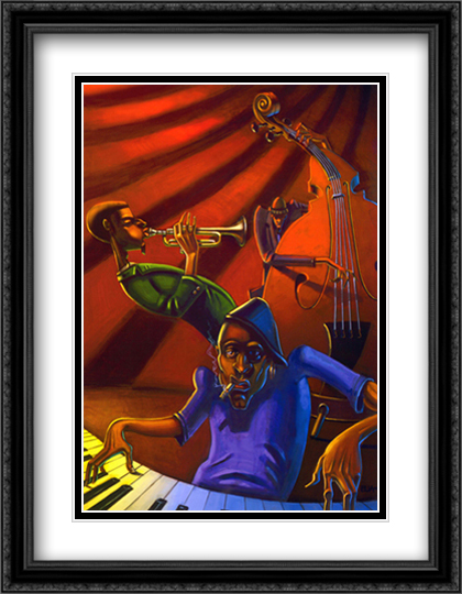 Jazz Trio 2x Matted 28x40 Extra Large Black Ornate Framed Art Print by Justin Bua