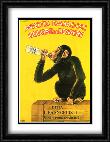 Anisetta Monkey 2x Matted 28x38 Extra Large Black Ornate Framed Art Print by Carlo Biscaretti