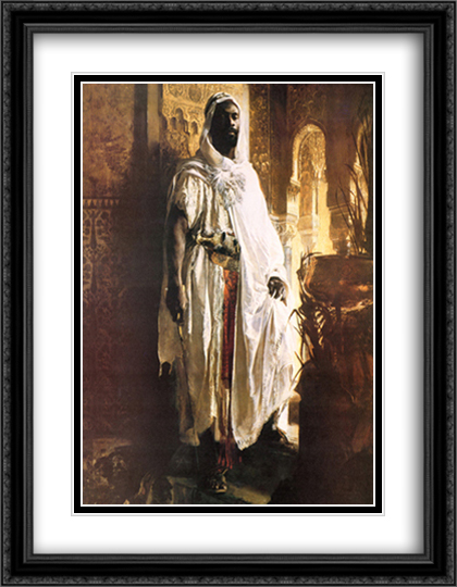 The Moorish Chief 2x Matted 28x36 Extra Large Black Ornate Framed Art Print by Eduard Charlemont
