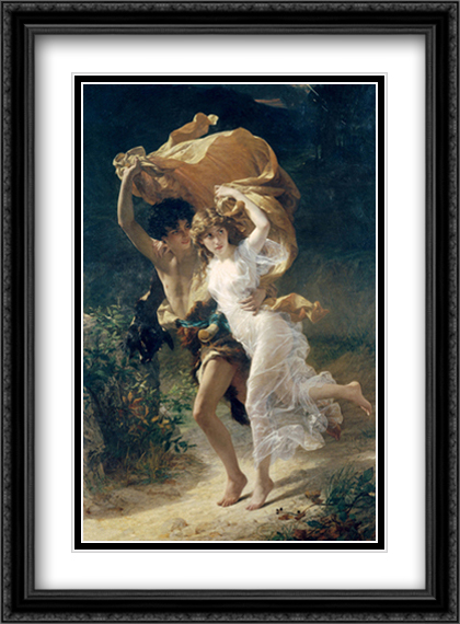 The Storm 2x Matted 28x40 Extra Large Black Ornate Framed Art Print by Pierre Auguste Cot