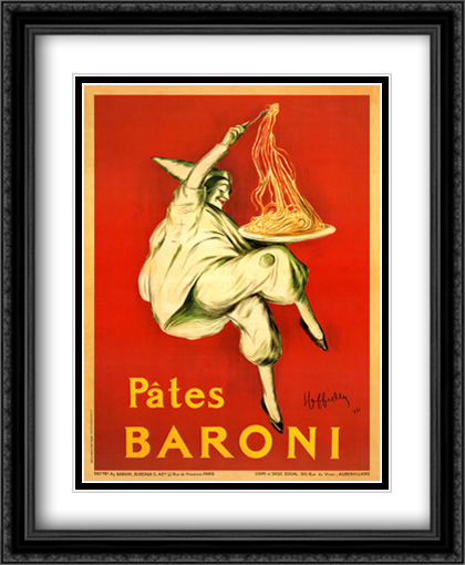 Pates Baroni, 1921 2x Matted 28x36 Extra Large Black Ornate Framed Art Print by Leonetto Cappiello