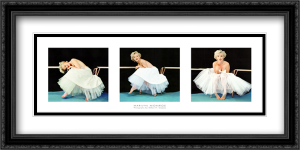 Marilyn Monroe Ballet Triptych 2x Matted 40x16 Extra Large Black Ornate Framed Art Print by Milton Greene