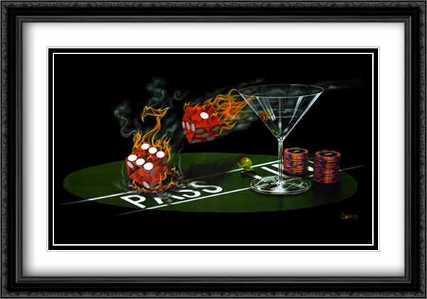Lost in Paradise 2x Matted 40x28 Extra Large Black Ornate Framed Art Print by Michael Godard