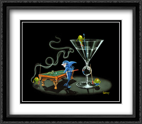 Pool Shark II 2x Matted 34x28 Extra Large Black Ornate Framed Art Print by Michael Godard