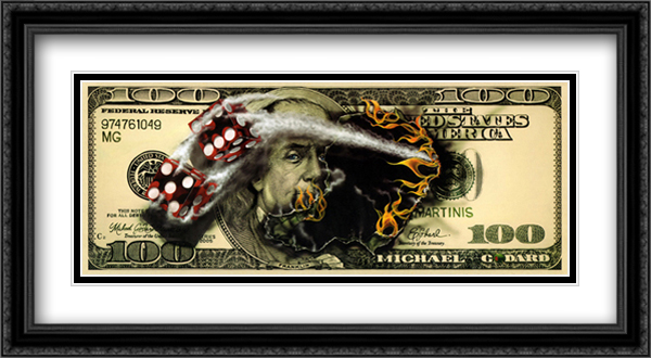 $100 Bill with Dice 2x Matted 40x20 Extra Large Black Ornate Framed Art Print by Michael Godard