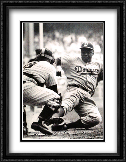 Jackie Robinson Stealing Home 2x Matted 28x40 Extra Large Black Ornate Framed Art Print by Mark Kauffman