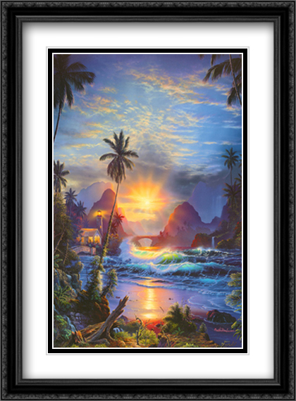 Beckoning Light 2x Matted 28x40 Extra Large Black Ornate Framed Art Print by Christian Lassen
