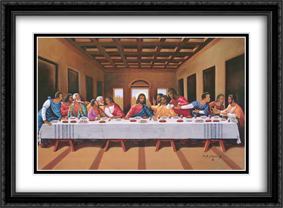 Black Last Supper 2x Matted 40x28 Extra Large Black Ornate Framed Art Print by Hulis Mavruk