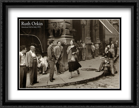 American Girl in Italy, 1951 2x Matted 40x28 Extra Large Black Ornate Framed Art Print by Ruth Orkin