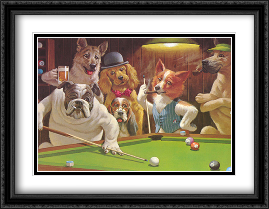 The Hustler 2x Matted 36x28 Extra Large Black Ornate Framed Art Print by Sarnoff, Arthur