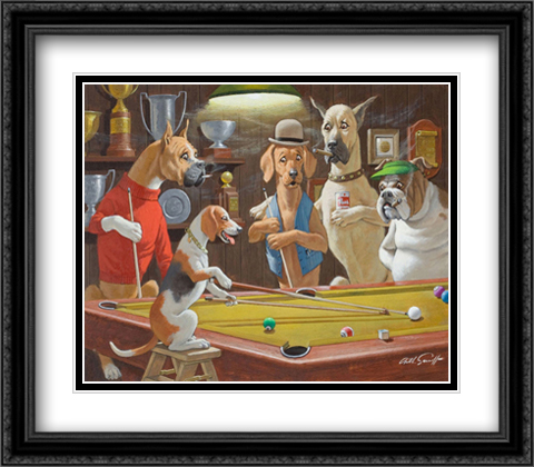 Hey! One Leg on the Floor 2x Matted 32x28 Extra Large Black Ornate Framed Art Print by Sarnoff, Arthur