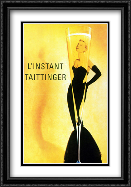 Taittinger 2x Matted 28x40 Extra Large Black Ornate Framed Art Print