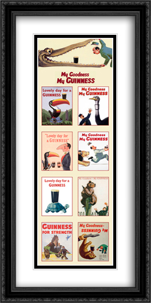 Guinness: Collage 2x Matted 16x40 Extra Large Black Ornate Framed Art Print