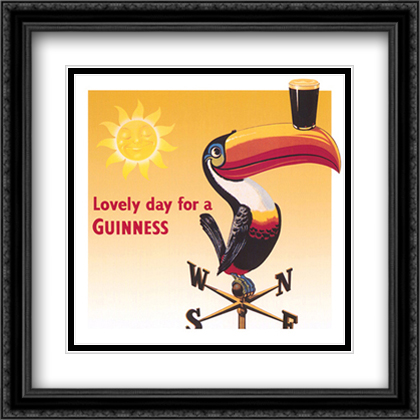 Guinness - Toucan 2x Matted 28x28 Extra Large Black Ornate Framed Art Print