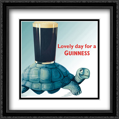 Guinness - Turtle 2x Matted 28x28 Extra Large Black Ornate Framed Art Print