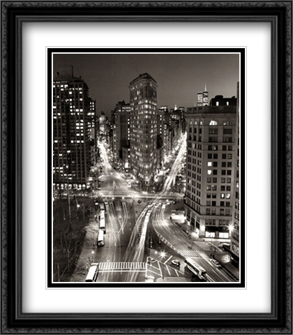 New York, Flatiron Building at Night 2x Matted 28x36 Extra Large Black Ornate Framed Art Print by Henri Silberman