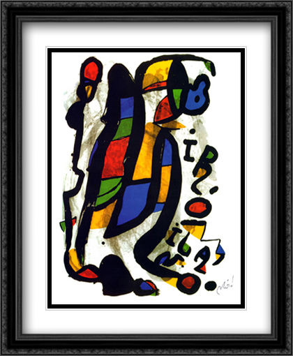 Milano 2x Matted 28x34 Extra Large Black Ornate Framed Art Print by Miro, Joan