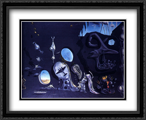Idylle Atomique 2x Matted 34x28 Extra Large Black Ornate Framed Art Print by Dali, Salvador