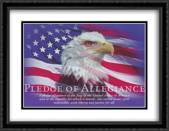 Pledge of Allegiance 2x Matted 40x28 Extra Large Black Ornate Framed Art Print by Bob Downs