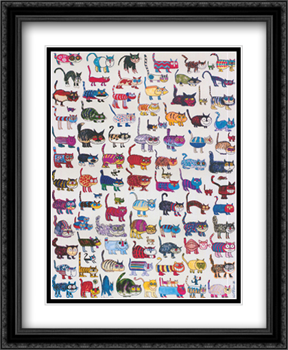 100 Cats and a Mouse 2x Matted 28x40 Extra Large Black or Gold Ornate Framed Art Print by Vittorio Fiorucci