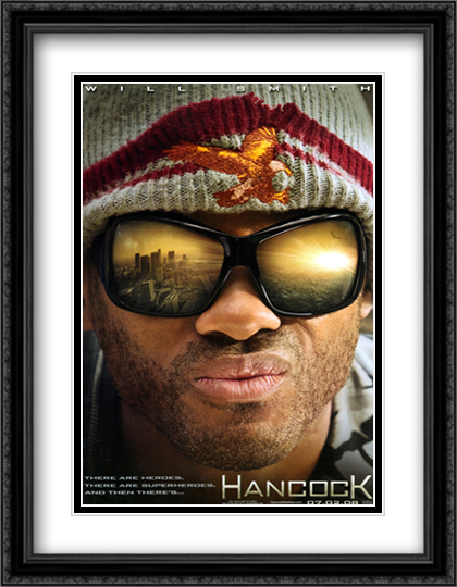 Hancock 28x36 Double Matted Extra Large Black Ornate Framed Movie Poster Art Print
