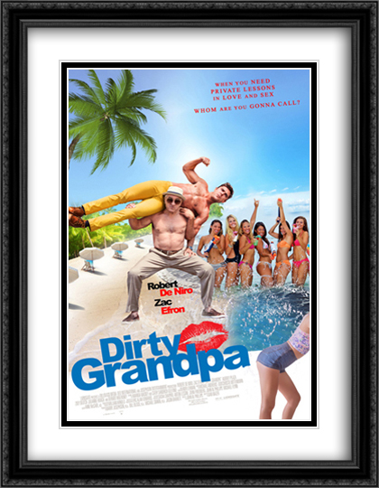 Dirty Grandpa 28x36 Double Matted Extra Large Black Ornate Framed Movie Poster Art Print