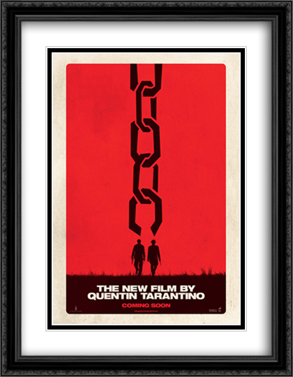 Django Unchained 28x36 Double Matted Extra Large Black Ornate Framed Movie Poster Art Print