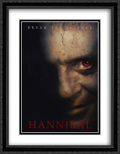 Hannibal 28x36 Double Matted Extra Large Black Ornate Framed Movie Poster Art Print