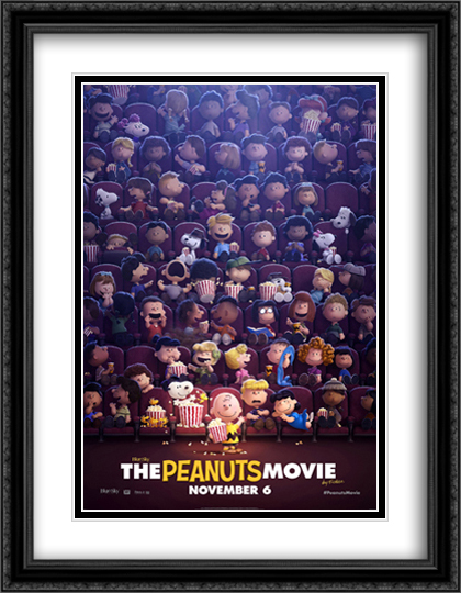 The Peanuts Movie 28x36 Double Matted Extra Large Black Ornate Framed Movie Poster Art Print