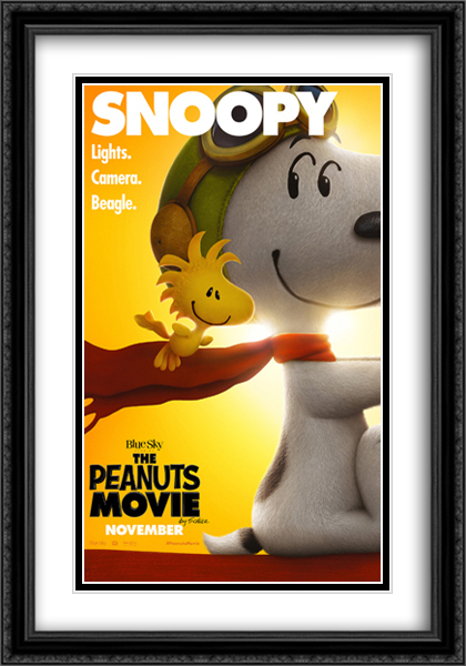 The Peanuts Movie 28x40 Double Matted Extra Large Black Ornate Framed Movie Poster Art Print